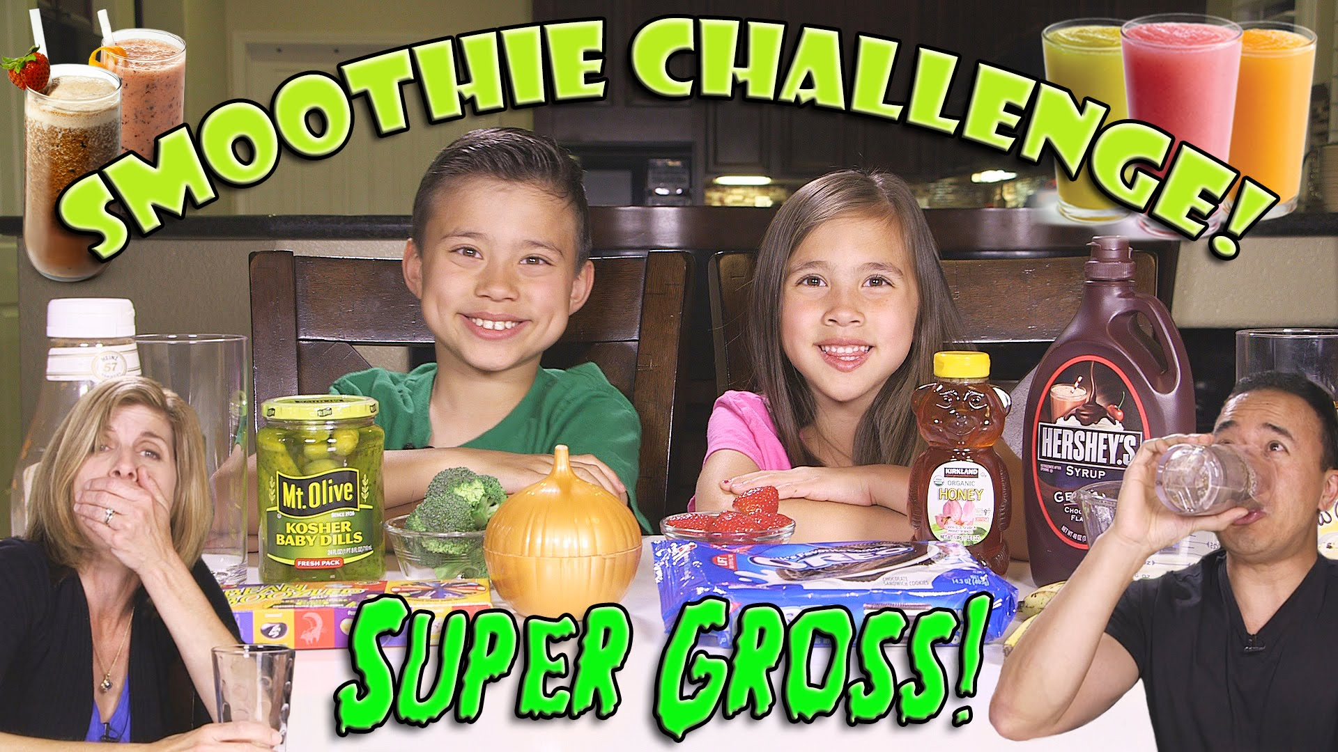 SMOOTHIE CHALLENGE! Super Gross Smoothies – GOTTA DRINK IT ALL! – Whats That Challenge